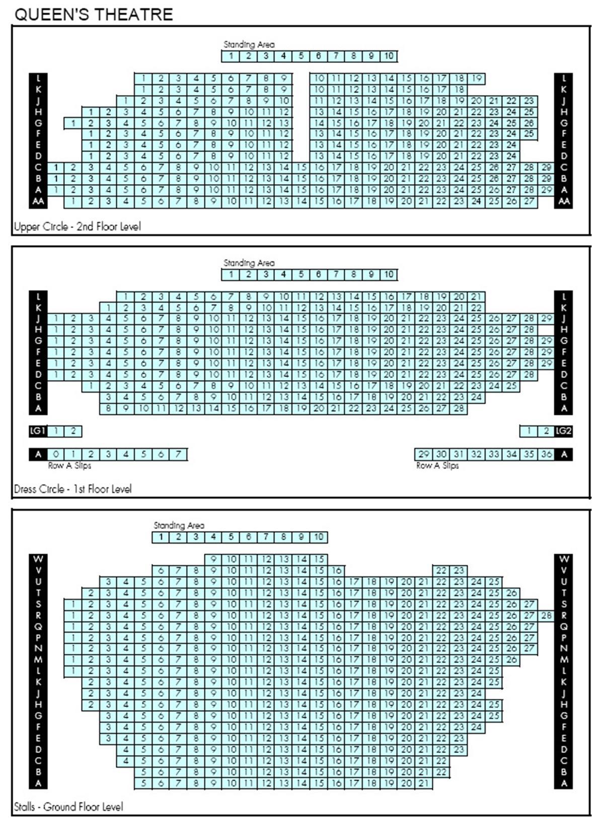 Queens Theatre Seat Plan for Les Miserables
